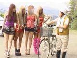 Nerd Bicyclist Stalked By 4 Hot Girls