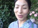 Japanese Mature Whore in Kimono Threesome