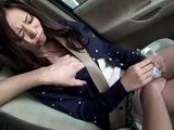 Groped Busty Ruri Saijo Gives Titjob and Blowjob In the Car