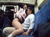 Horny Japanese Schoolgirl Fucking A Businessman In A Public Bus