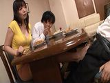 Sinful Stepmom Nao Mizuki Giving Footjob Under The Table To Stepson During Family Dinner